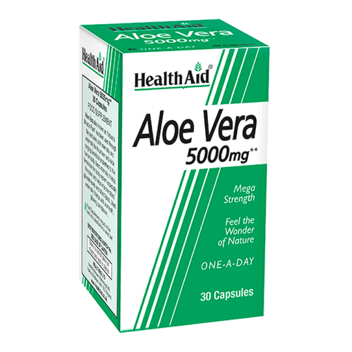 Health Aid Aloe Vera 5000mg 30 κάψουλες, αλόη, αλοε βέρα, βότανο, δυσκοιλιότητα, φυτοθεραπεία, συμπλήρωμα, φαρμακείο